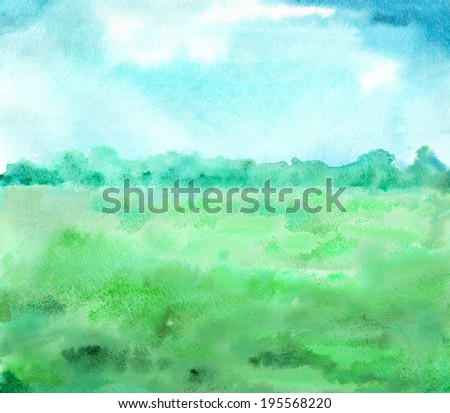 landscape in green and blue colors - stock photo