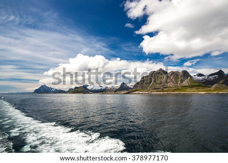 Landscape in Lofoten, Norway seen from a boat.