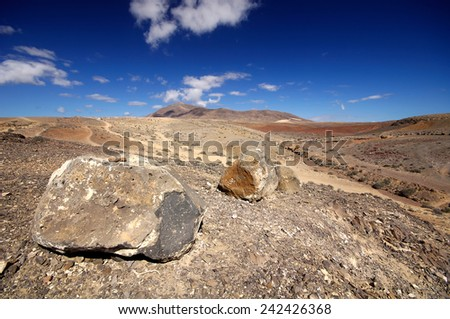 Landscape in los Ajaches, Punta Papagayo.Canary islands, Lanzarote, Spain - stock photo