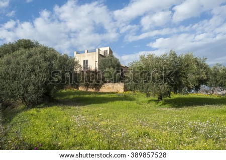 landscape in Sicily with villa, Italy, Europe