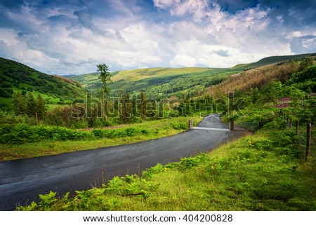 Landscape in Snowdonia National Park, Wales, UK. - stock photo