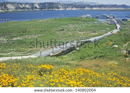 Landscape in Southern California, Lake Cachuma, Santa Barbara, California - stock photo