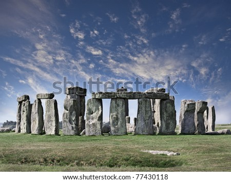 Landscape in Stonehenge - stock photo