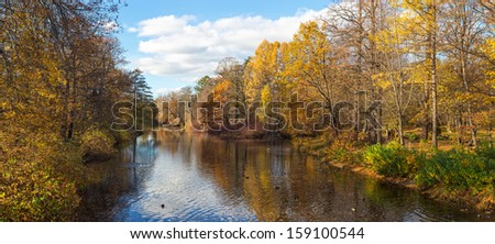 landscape in sunny autumn park with a river