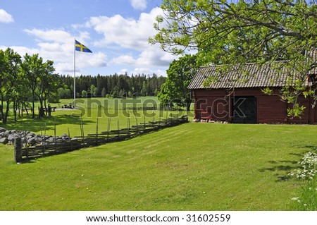 Landscape in Sweden in a Midsummer day - stock photo