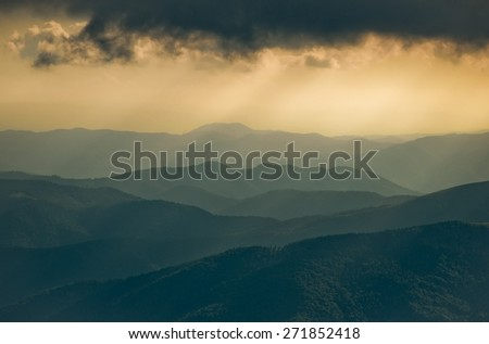 Landscape in the Carpathian mountains - stock photo