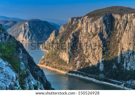 "Landscape in the Danube Gorges ""Cazanele Mari"" seen from the Romanian side."