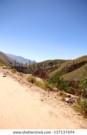 Landscape in the heights of Jujuy, Argentina, South america.