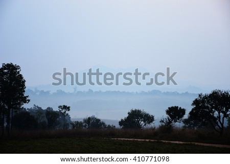 Landscape in the mist of a national park in Thailand. - stock photo