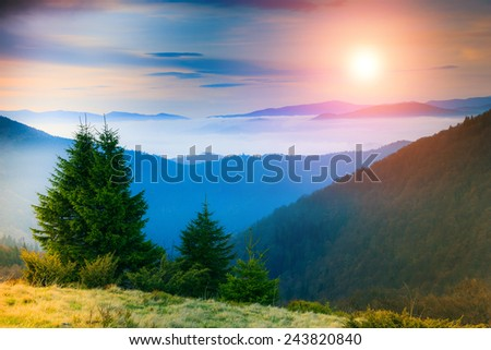 Landscape in the mountain:hazy tops and autumn valleys.  Fantastic evening glowing by sunlight. Filtered image:cross processed lighting leak - instagram. - stock photo