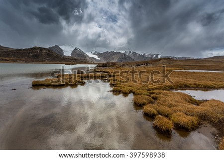 landscape in the mountains of Kyrgyzstan - stock photo