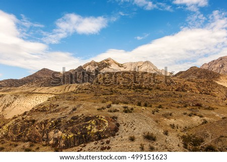 landscape in the mountains with blue sky and clouds