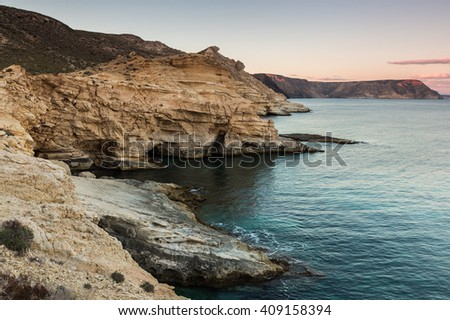 Landscape in the Playazo de Rodalquilar. Natural Park of Cabo de Gata. Spain. - stock photo