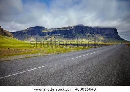 Landscape in the south part of Iceland - stock photo