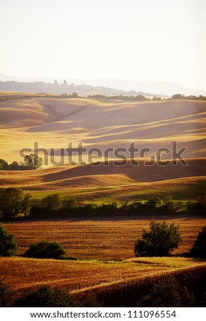Landscape in Tuscany at sunset in summer - stock photo