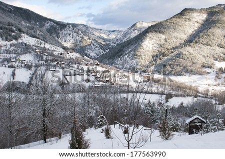 Landscape in west Serbia during winter - stock photo