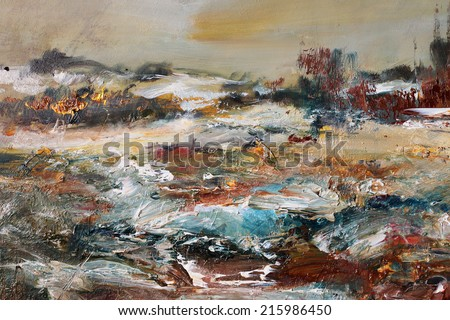 Landscape in Winter, oil painting art background                                - stock photo