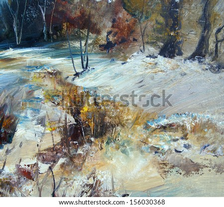 Landscape in winter, oil painting, illustration - stock photo