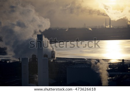 Landscape, industrial, smoking, chimneys, sunset, mersey, estuary, water, chemical, plant, pollution, environment,heavy industry