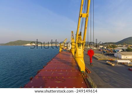 Landscape industry ship port - stock photo