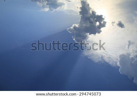 landscape isolated delicious cumulus clouds in the sun at sunset