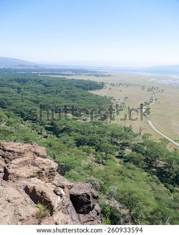 landscape Kenya, Africa. panorama of mountains and savannah - stock photo