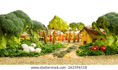 landscape made up of vegetables and spices - stock photo