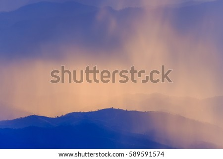 landscape mountain and warm light and rainy in nature, Doi  Inthanon, Chiangmai Thailand