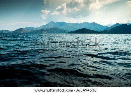 Landscape Mountain Lake, Lake Skadar - stock photo