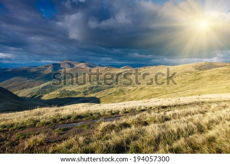 Landscape mountain valley and clouds in the sky  - stock photo