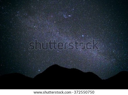 Landscape mountain with Universe Milky Way galaxy  - stock photo