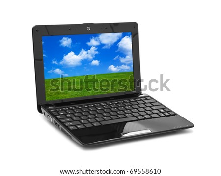 Landscape (my photo) on notebook screen isolated on white background - stock photo