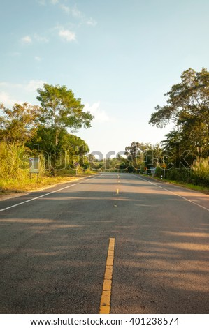 Landscape of a Country Road - stock photo