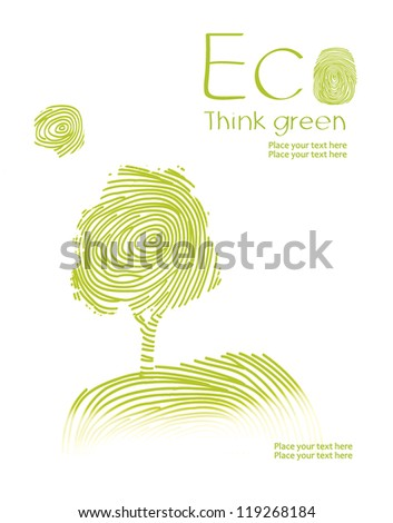 Landscape of a fingerprint, isolated on white background. Think Green. Ecology Concept. - stock photo
