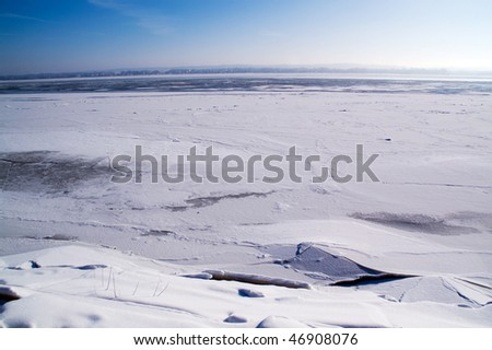Landscape of a frozen river