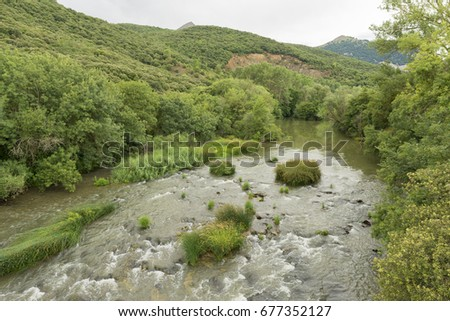 Landscape of a river in the province of navarra