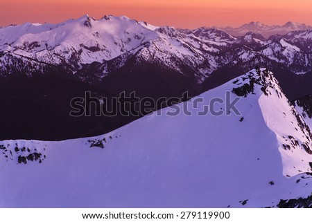 Landscape of a snowy peak or summit of a ski slope - stock photo