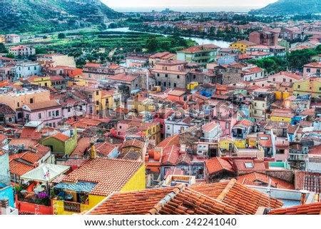 landscape of a typical italian village. Shot in Bosa, Sardinia - stock photo