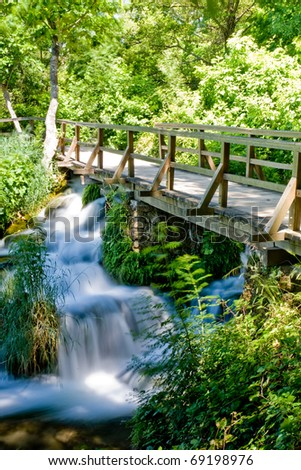 Landscape of a waterfall in Krka national park in Croatia - stock photo