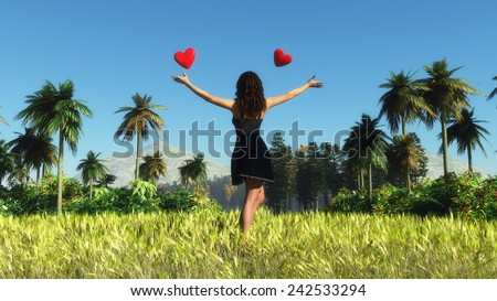 landscape of a woman and hearts in a field - stock photo