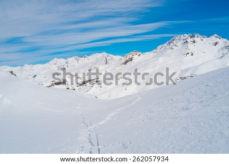 Landscape of Alps mountains in winter close to Lac du Lou, Val Thorens, France - stock photo