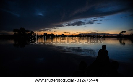 Landscape of amazon rainforest - stock photo