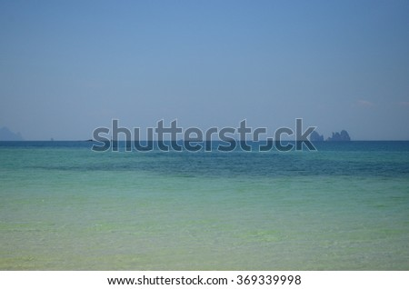 Landscape of Andaman Sea with sea coast and blue sky in Bulon Island, Southern Thailand.