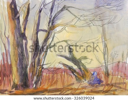 Landscape of autumn the great tree and mountain views. Watercolor painting - stock photo