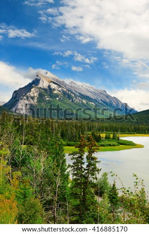 Landscape of Banff National Park in Canada with snow capped mountain - stock photo
