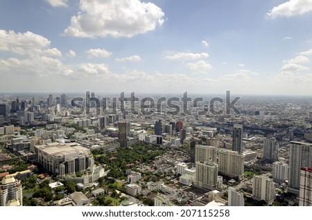 Landscape of  Bangkok city from baiyoke II tower  on 3 July 2014 BANGKOK THAILAND. Bangkok is the capital city of Thailand. It is known in Thai as Krung Thep. july 3, 2014 in Bangkok, Thailand - stock photo
