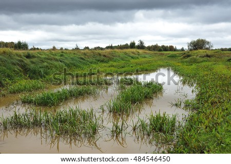 Landscape of  beginning of autumn with ditch-water