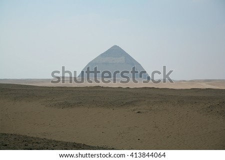 landscape of Bent Pyramid in Dahshur, Egypt, Africa, for Sneferu pharaoh, founded in century XXVI Before Christ - stock photo
