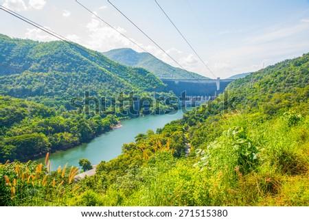 Landscape of Bhumibol Dam, Thailand. - stock photo