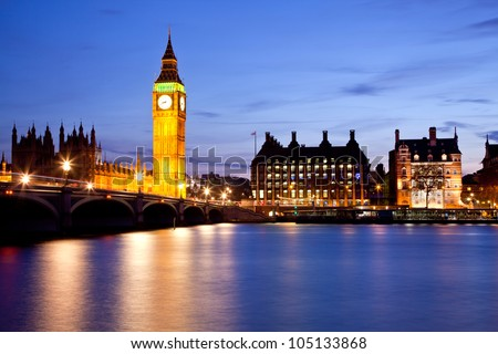 Landscape of Big Ben and Westminster Bridge with river Thames London England UK - stock photo